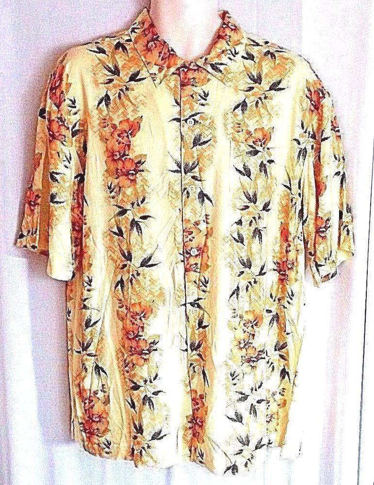 5cbaa4a6 Puritan Mens Shirt Size L Yellow Hawaiian Tropical Floral Bird Paradise  Aloha