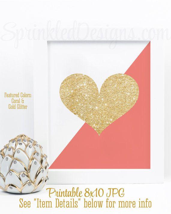 Gold Glitter Heart Print - Coral & Gold Nursery Decor, Girls Room ...