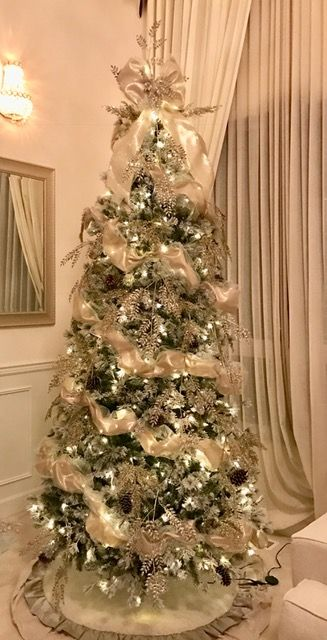 beautifully decorated 9ft flocked pine christmas tree christmas board pinterest christmas tree pine and xmas