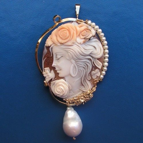 Antique Style Hand Carved Shell Cameo Pendant
