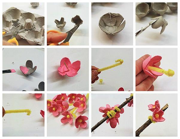 Passo A Passo Galho Decorativo Com Flores De Caixa De Ovo