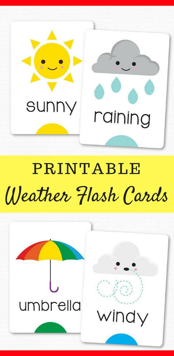 Printable Weather Flash Cards for Preschoolers and Early ...