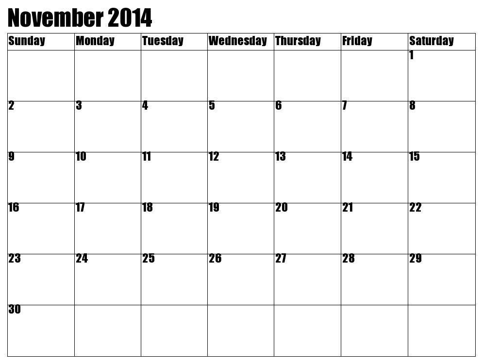 November Calendar 2014 Printable Printable November 2014 Calendar