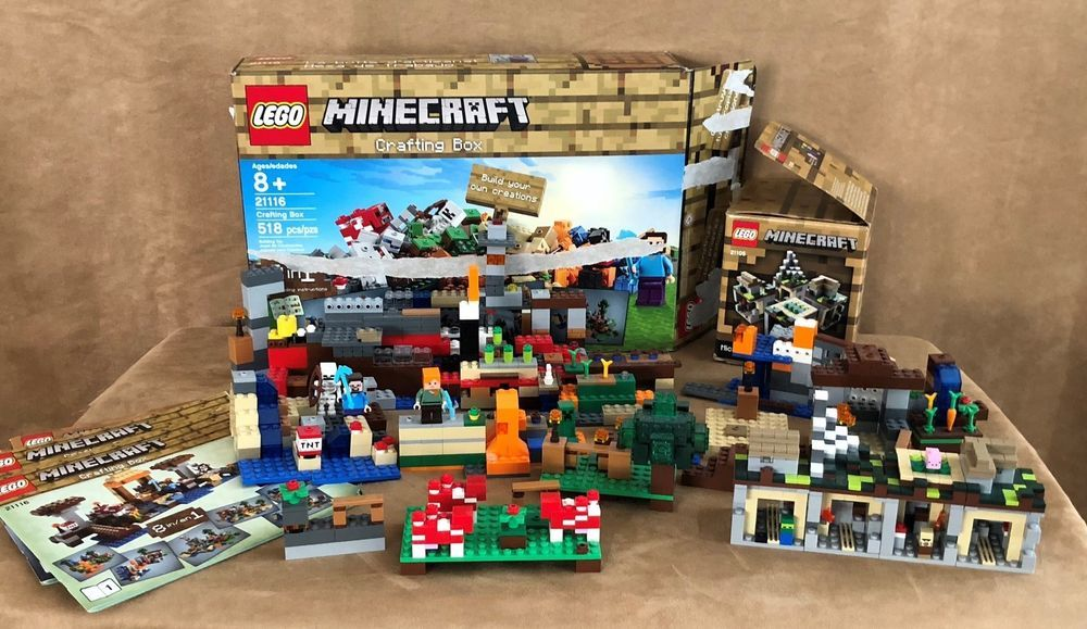 21116 21105 Lego Complete Lot 2 Minecraft Crafting Box And Micro World Village Craft Box Crafts Lego