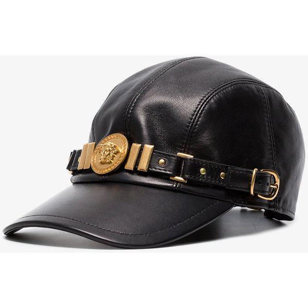Versace Black Medusa Medallion Leather Cap ( 1 7b6e12007b9