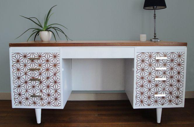 DIY  faire un motif scandinave bois sur un meuble peint Idées - meuble en bois repeint