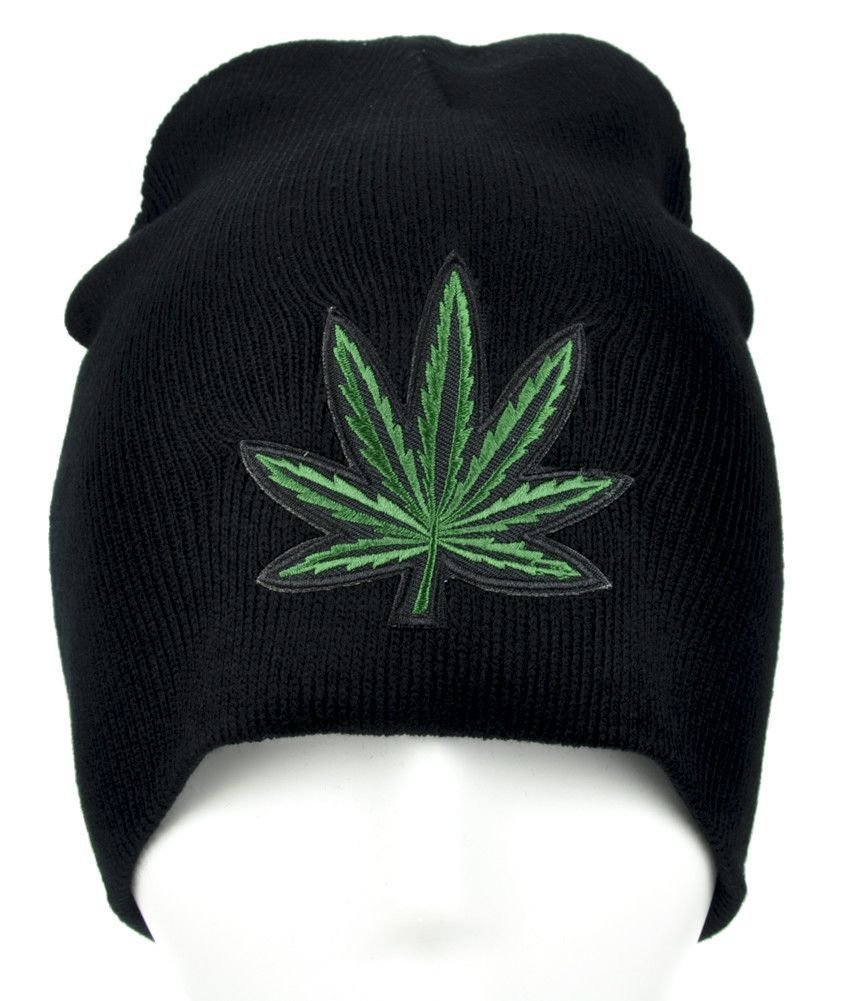 3ad48da56b2 Marijuana Pot Leaf Beanie Alternative Clothing Knit Cap High Times