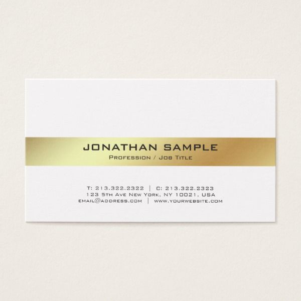 Elegant modern white and gold professional plain business card elegant modern white and gold professional plain business card reheart Gallery