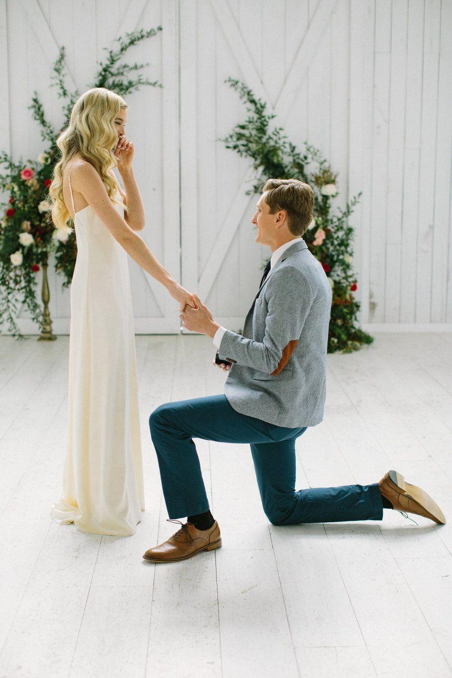 Surprise proposal: Photography: Ellen Ashton Photography - www.ellenashton.com/   Read More on SMP: http://www.stylemepretty.com/2017/03/08/garden-of-eden-inspired-shoot-ending-in-a-real-surprise-proposal/