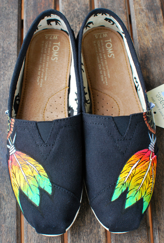 bb9c780d412 Custom Hand Painted TOMS -- Rasta Dream Catcher on Black Canvas Classic  TOMS Shoes -- Customizable - Red Yellow Green Painted Feathers