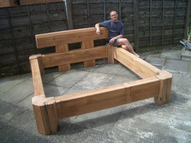 Wooden platform bed plans bed frame plan outdoor for Diy timber frame plans