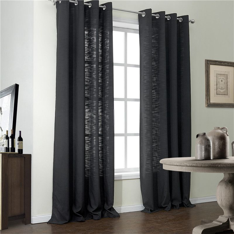 Simple Home Modern Black Window Curtains Of 2 Panels Black