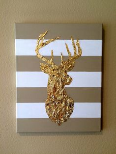 11x14 Acrylic Gold Leaf Painting of Deer Head on by HArtOfGold1