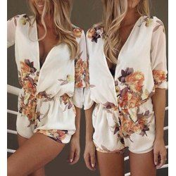 Stylish Plunging Neck Long Sleeves Floral Print Romper For Women