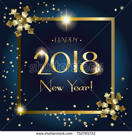 Happy New Year 2018 Luxury Greeting Card. Elegant Christmas Decoration,  Glitter Gold Snowflakes Frame Glitter Confetti, Lights Effect, Winter  Holiday, ...