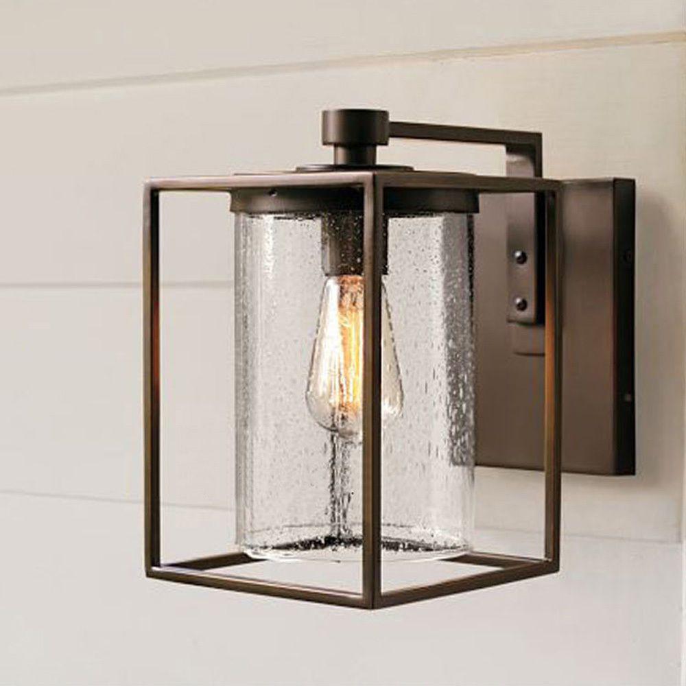 Outdoor Exterior Lantern Wall Light Fixture Textured Black