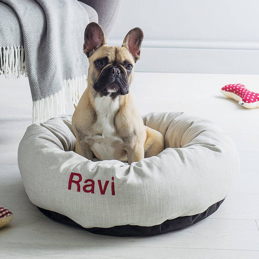 I've just found Personalised Linen Donut Dog Bed. Our