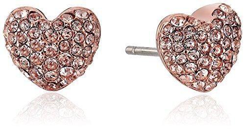0ebd4e99bfe5 Michael Kors Brilliance Pave Hearts Rose Gold-Tone and Peach Crystal Heart  Stud Earrings