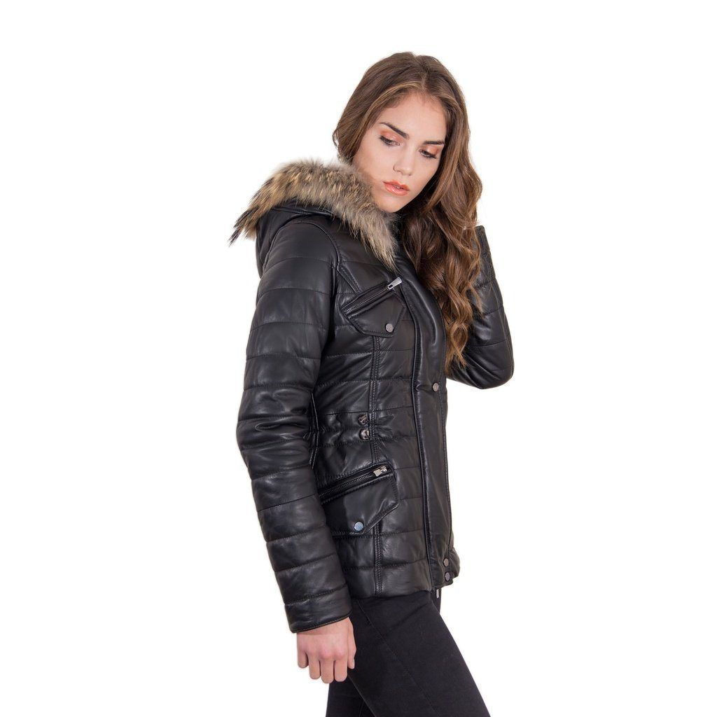 Women's Leather Down Jacket, genuine smooth soft leather, murmasky on the hood, central zip, black color