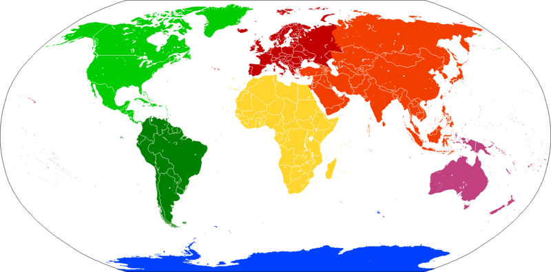 Color coded map of continents: Americas North America South