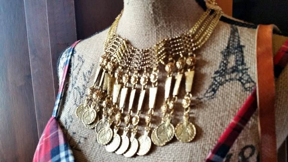 GYPSY PRIESTESS Antiqued Gold Elaborate Vintage Coin Multichain Necklace Chest Piece Bohemian Hippie by BadTigerDesigns on Etsy