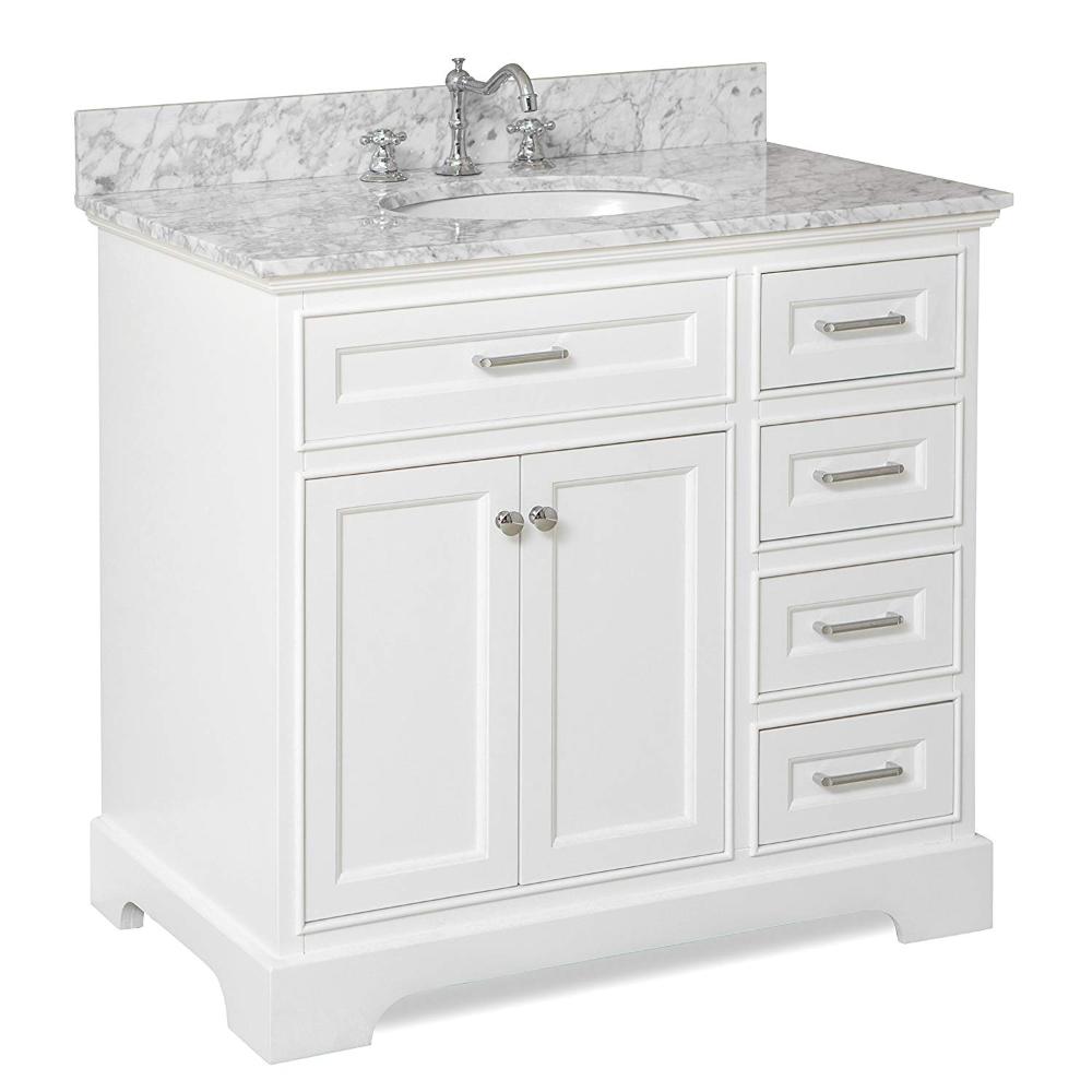 Aria 36 Inch Bathroom Vanity Carrara, White 36 Inch Bathroom Vanity