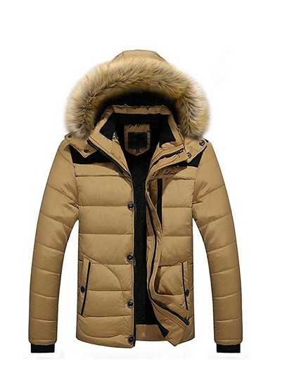 1de0f95d1015 Fashion Men Outdoor Warm Winter Thick Jacket Plus Hooded Coat Cotton Jacket  Solid Outwear Stand Collar Tops - £19.00