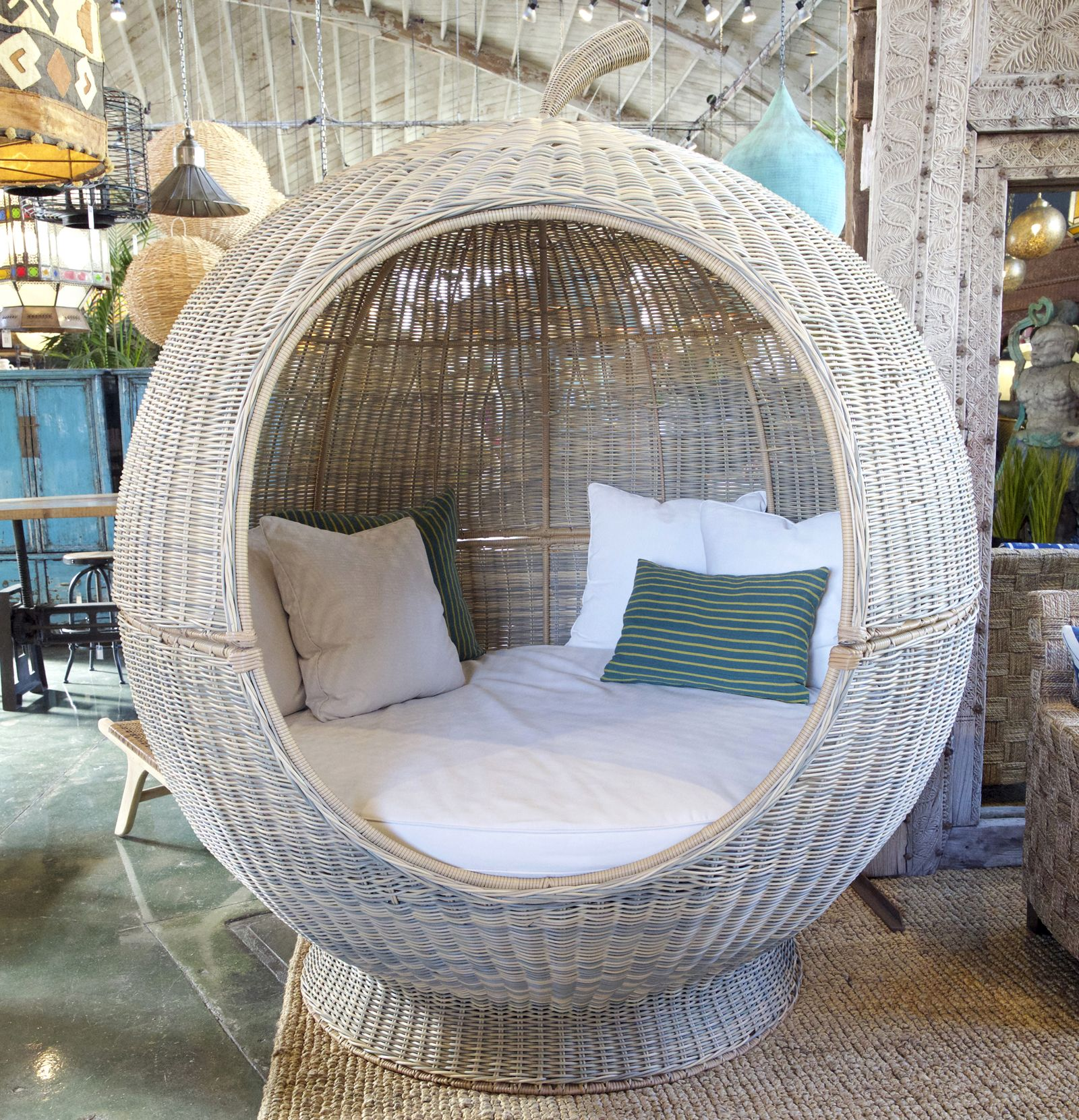 Giant apple shaped pod bed made from durable outdoor