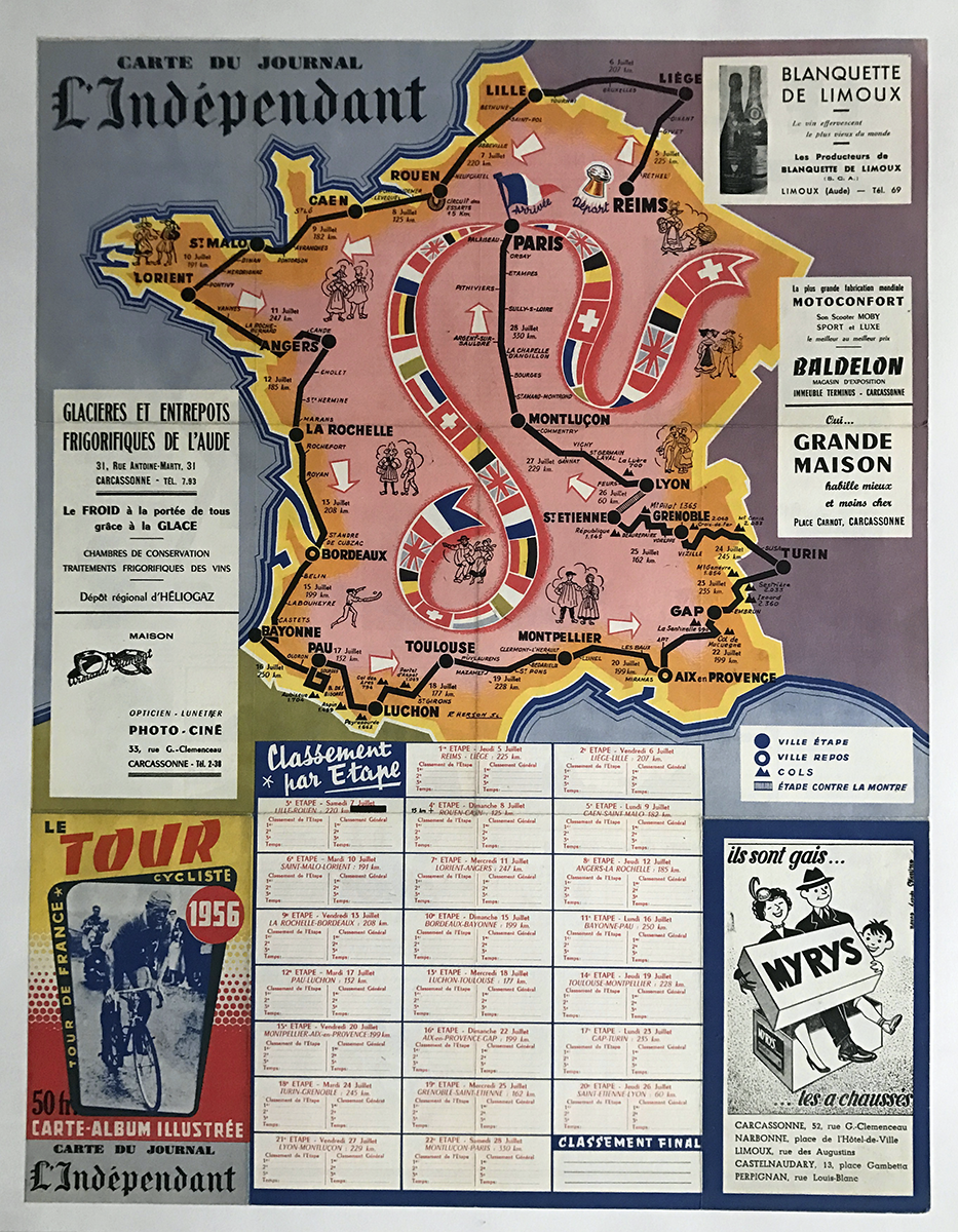 1956 Le Courrier Tour De France Vintage