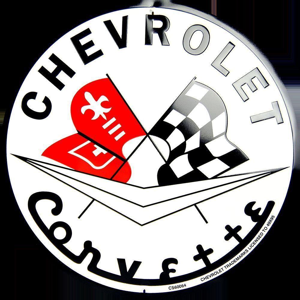 """Chevrolet Corvette Racing Flags Embossed Metal 12/"""" Circle Sign"""