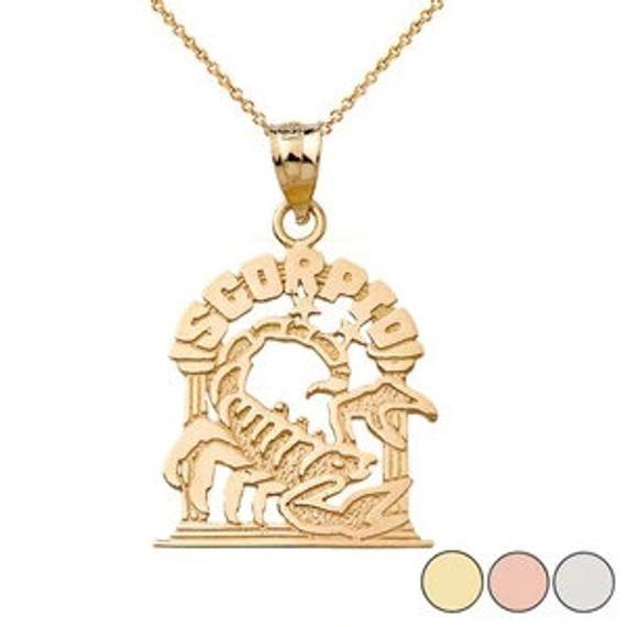 Zodiac Scorpio Pendant Necklace In Solid Gold (yellow/rose/white)