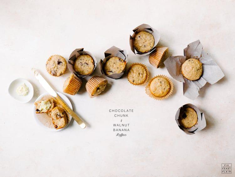 Chocolate Chunk & Walnut Banana Muffins Recipe — Fix Feast Flair