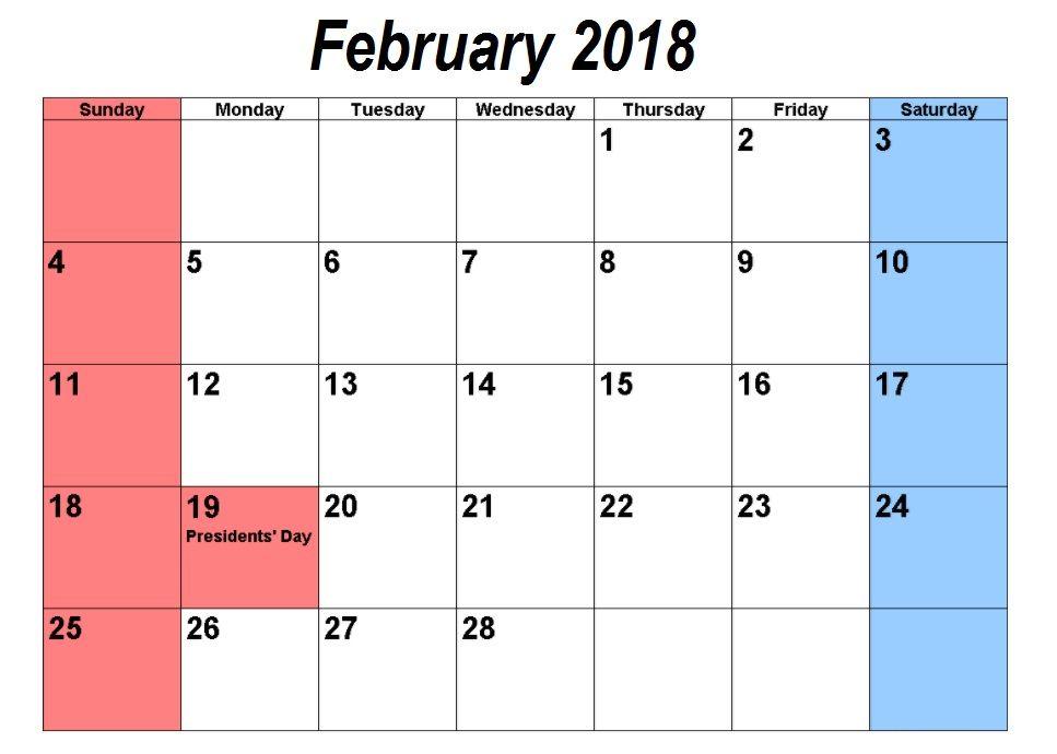 February 2018 Holidays Calendar | Calendar | Pinterest | Holiday
