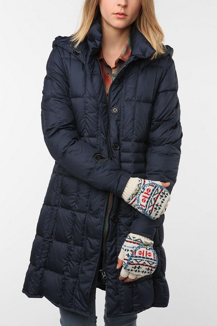 Long puffer coat with hood