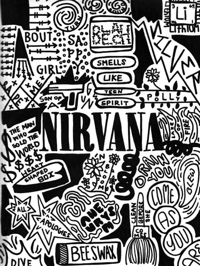 nirvana coloring pages   American Hippie Music Collage Art ~ Nirvana Lyrics   music ...