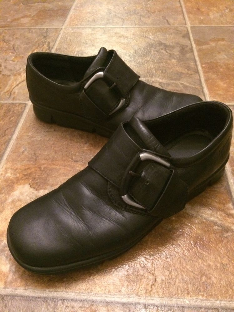 11bc118380 WOMENS BLACK LEATHER ECCO BUCKLE SHOES SIZE 6.5 #ECCO ...