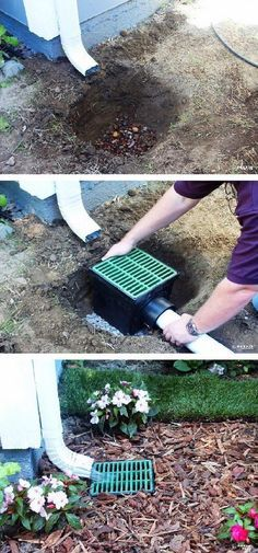 Prevent And Fix The Problem Of Downspout Runoff Backyard Landscaping Front Yard Outdoor Gardens