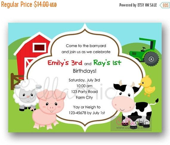 10 Personalised Party Time Farm Animals Farmyard Birthday Party Invitations