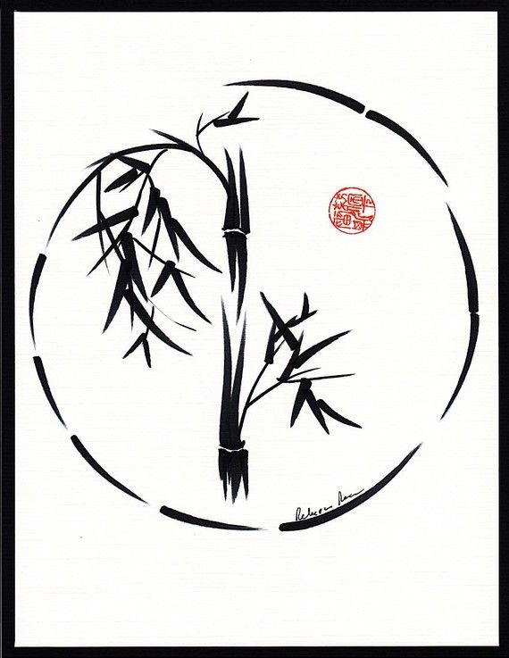 Original Enso Zen Painting Throw Pillows: Original Bamboo Sumie Enso Ink Brush Painting In