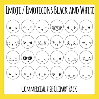 Emoticons Smiley Faces Frowny Faces Clipart Set 24 Pieces Of Black And White Line Art Black Line Master Clip Art In A In 2020 Clip Art Emoticons Emojis Art Set