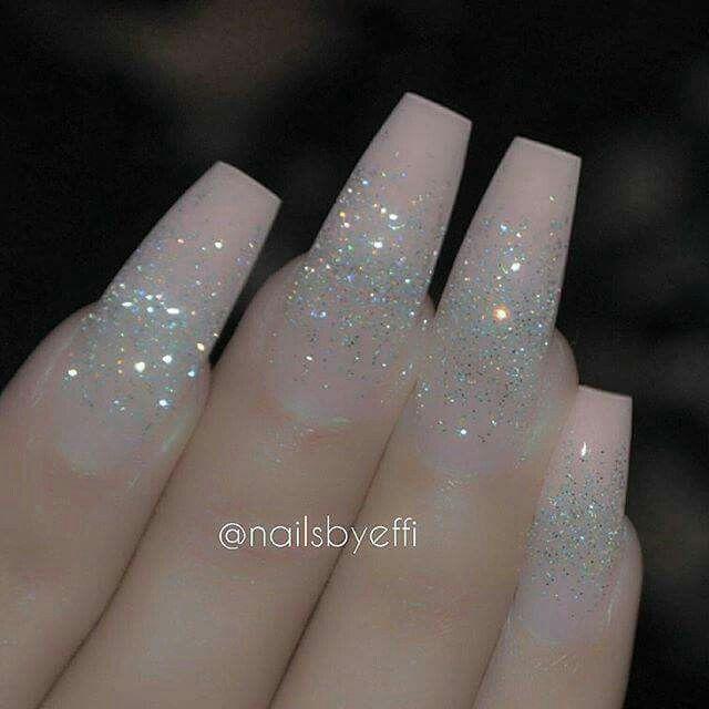 Pink Silver Glitter Acrylic Nails Winter Nails Http Amzn To 2iznrsz Ombre Acrylic Nails