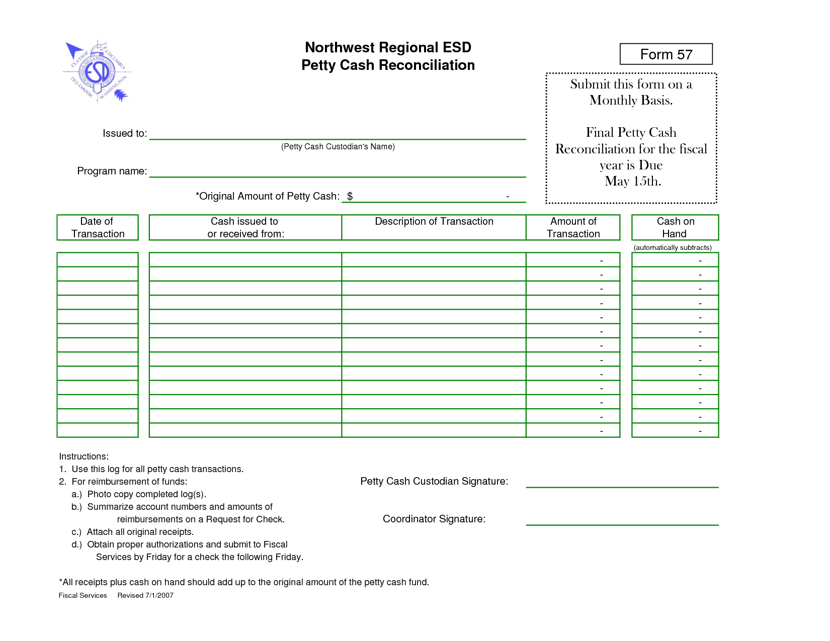 Petty Cash Reconciliation Form Template