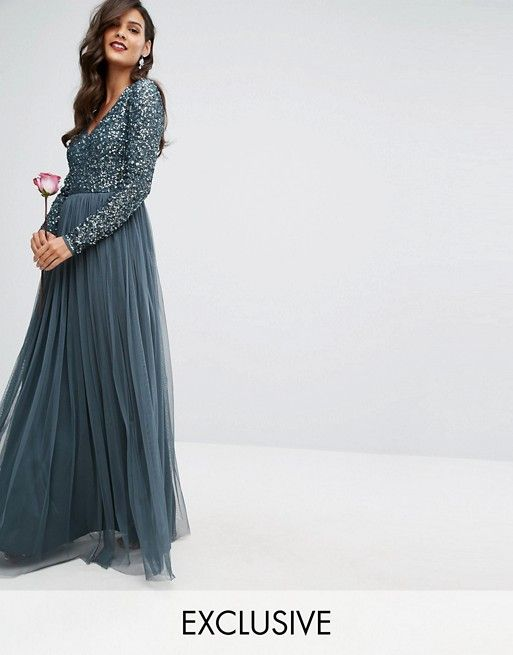 2f03c8d5d2 Maya Plunge Front Long Sleeve Maxi Dress In Tonal Delicate Sequin And Tulle  Skirt more aqua