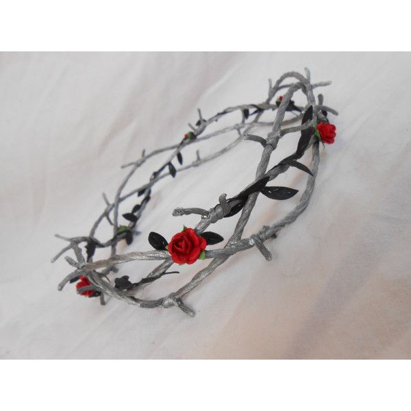 Barbed Wire Crown of Thorns Silver Black Leaves Red Rose Goth ...