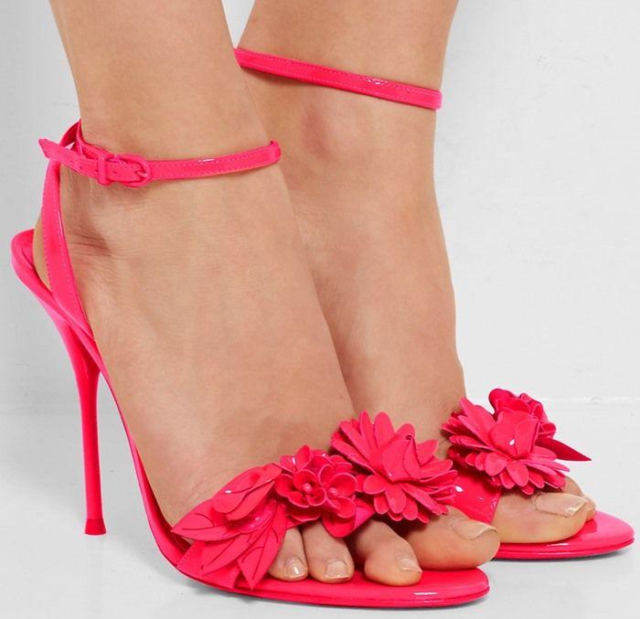Sophia Bush in Sophia Webster 'Lilico' Appliquéd Slingback Sandals