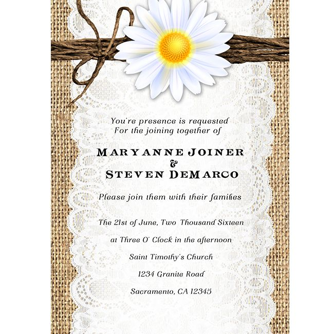 Daisy Flower Burlap Lace Rustic Country Wedding Invitations This Is A Digital Printable Invitation