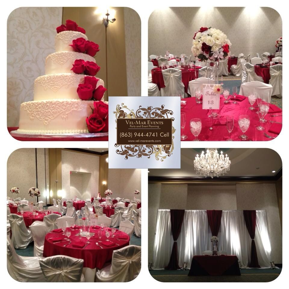 Maroon and cream wedding decor  Red and Ivory wedding Brandon FL  VelMar Events LLC  Pinterest