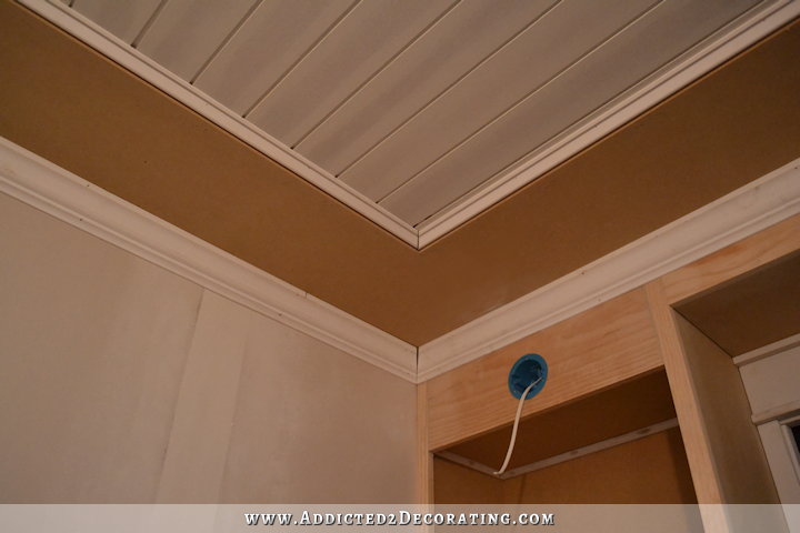 Dining Room Crown Molding Progress Problems Solutions Addicted 2 Decorating Wood Plank Ceiling Plank Ceiling Wood Planks