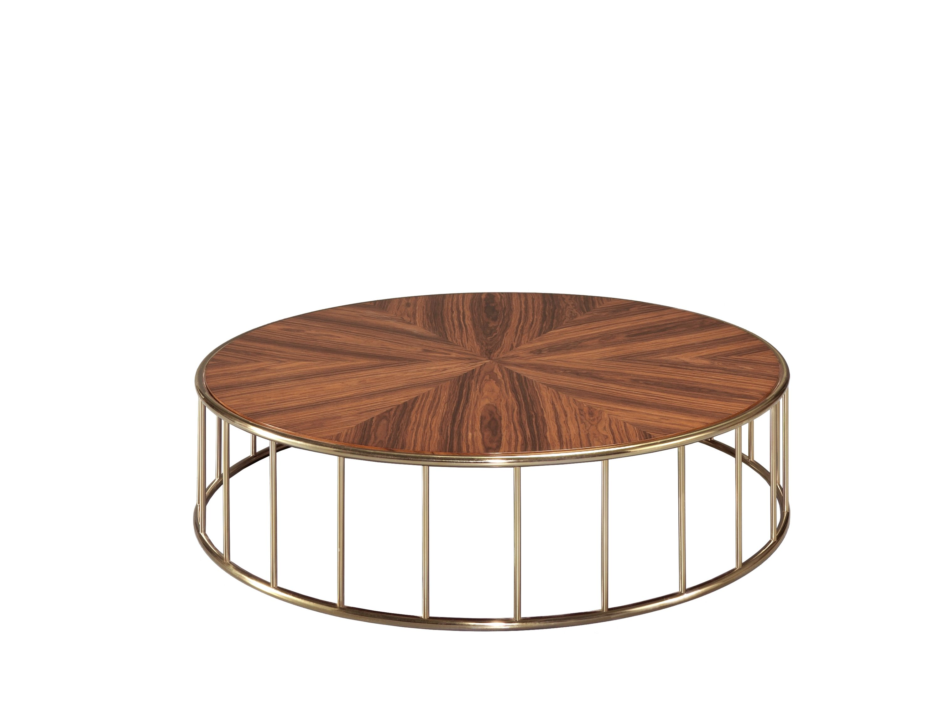 Laskasas | Still Coffee Table | Elegant Round Coffee Table With Guilded Stainless  Steel Base And