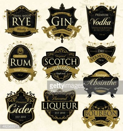 Vector Art Assorted Vintage Liquor Labels Liquor